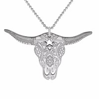 Cartergore Silver Texas Longhorn Pendant Necklace