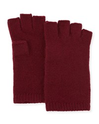Neiman Marcus Cashmere Basic Fingerless Gloves Merlot