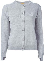 Peter Jensen Embroidered Logo Cardigan Grey
