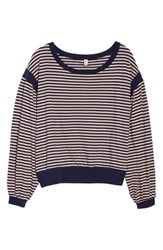 Plus Size Bp. Stripe Puff Sleeve Tee Navy Maritime Sarah Stripe