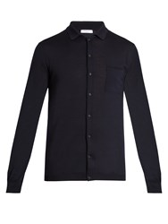 Boglioli Point Collar Wool Knit Cardigan Navy