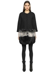 Ava Adore Boiled Wool Coat With Murmansky Fur