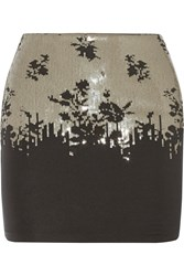 La Perla Ombre Floral Sequined Stretch Jersey Skirt Black