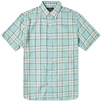 Beams Plus Short Sleeve 60 1 Twill Check Green