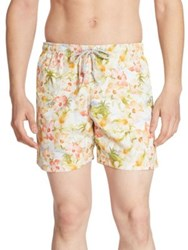 Saks Fifth Avenue Retro Tropical Printed Swim Trunks Yellow Green