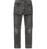 Balenciaga Zip Panelled Denim Jeans Gray