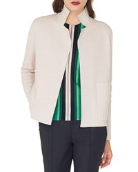 Akris Open Front Placed Stripe Double Face Cashmere Knit Cardigan Sand