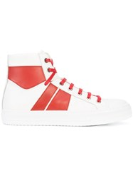 Amiri Contrast Panel Hi Top Sneakers Leather Rubber White