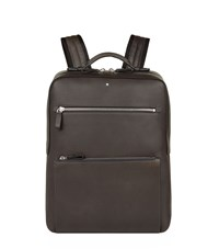 Montblanc Leather Zipped Backpack Grey