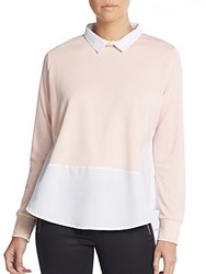 French Connection Colorblock Jersey Blouse Anemone White