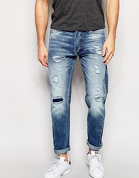 Jack And Jones Jack And Jones Light Wash Slim Fit Rip And Repair Jeans Blue