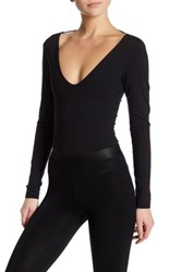 David Lerner Deep V Bodysuit Black