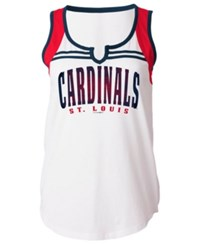 5Th And Ocean Women's St. Louis Cardinals V Notch Tank White Red