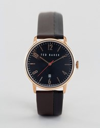 Ted Baker Classic Brown Leather Watch With Rose Gold Black Dial Brow