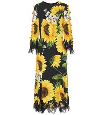 Dolce And Gabbana Lace Trimmed Midi Dress Yellow