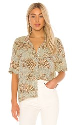 Amuse Society Wildcat Woven Blouse In Brown. Natural