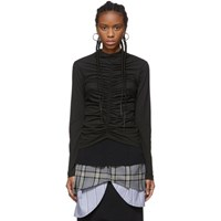Edit Black Ruched High Neck T Shirt