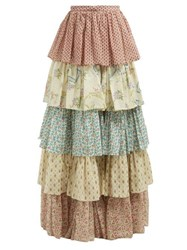 Gucci Floral Print Tiered Cotton Maxi Skirt Ivory Multi