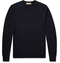 Burberry Elbow Patch Cashmere And Cotton Blend Sweater Midnight Blue
