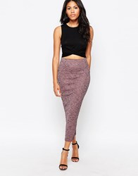 Love Midi Pencil Skirt With Zip In Marl Pink