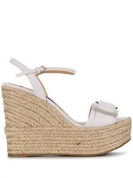 Sergio Rossi Raffia Wedge Sandals White