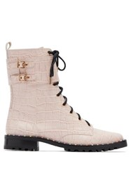 Sophia Webster Bessie Crocodile Effect Leather Combat Boots Pink