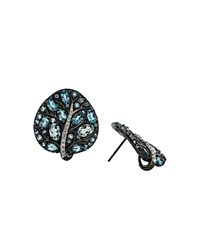 Michael Aram Black Rhodium Plated Sterling Silver Botanical Leaf Earrings With Blue Topaz And Diamonds Blue White