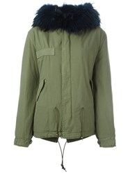 Mr And Mrs Italy Raccoon Fur Hooded Parka Green