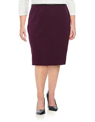 Calvin Klein Plus Faux Leather Trimmed Pencil Skirt Aubergine