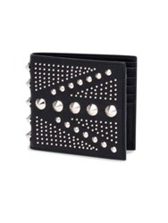 Alexander Mcqueen Studded Calfskin Leather Billfold Wallet Black