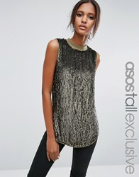 Asos Tall Sequin Longline Sleeveless Top With Rib Neck Green