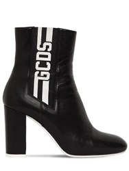 Gcds 90Mm Stripe Leather Ankle Boots Black