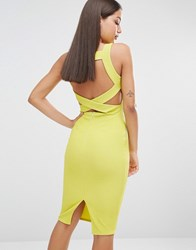 Missguided Ribbed Bodycon Back Detail Midi Dress Lime Green