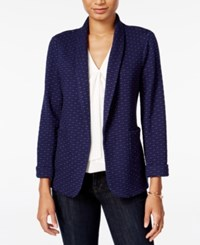 Maison Jules Dot Pattern Knit Blazer Only At Macy's Blu Notte Combo