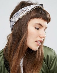 Asos Rose Print Knot Turban Headband Red