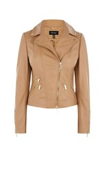 Karen Millen Tan Leather Biker Jacket Neutral