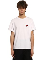 Neil Barrett Cotton And Modal T Shirt W Heart Patch White