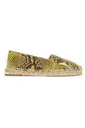 Paloma Barcelo Snake Effect Leather Espadrilles Yellow