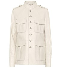 Saint Laurent Embellished Leather Jacket White