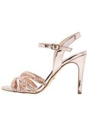 Buffalo High Heeled Sandals Metallic Glitter Rose Gold