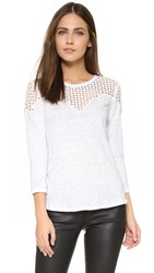 Rebecca Taylor Long Sleeve Linen Lace Tee Snow