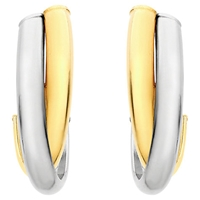 Ibb 9Ct Gold 2 Tone Crossover Huggy Earrings White Gold