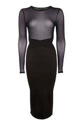 Topshop Mesh Top Bodycon Dress Black