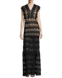Nightcap Clothing Antoinette V Neck Lace Gown Black Nude