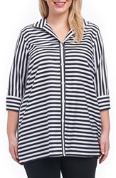 Foxcroft Plus Size Women's Dani Sateen Stripe Shirt Black