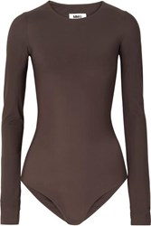 Maison Martin Margiela Mm6 Stretch Jersey Bodysuit Dark Brown