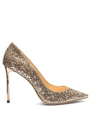 Jimmy Choo Romy 100Mm Glitter Pumps Gold