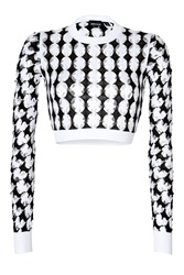 Just Cavalli Cotton Intarsia Knit Cropped Pullover Black