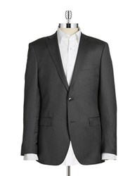 Black Brown Jack Slim Two Button Wool Blazer Charcoal
