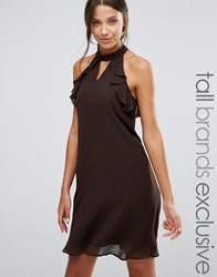 True Decadence Tall Frill Sleeve Shift Dress Chocolate Brown